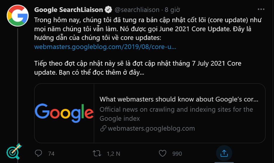 Thông báo chính thức của Google cập nhật thuật toán 2021 trên Twitter