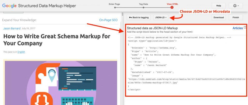tạo mã JSON-LS hoặc Microdata gắn vào HTML của website để tạo Schema markup.