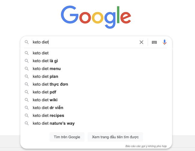 Nhập từ khóa để Google gợi ý long tail keywords