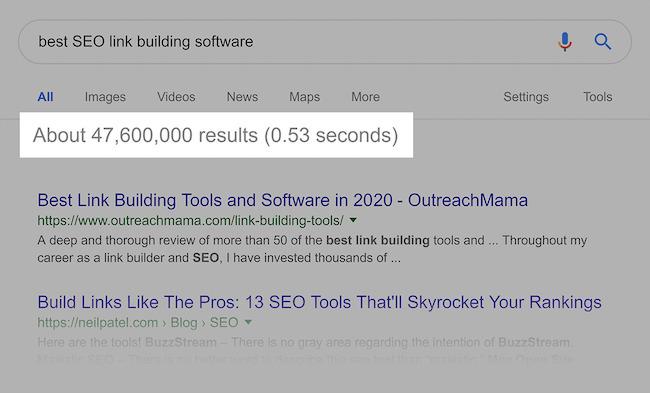 kết quả tìm kiếm khi đổi sang long tail keywords
