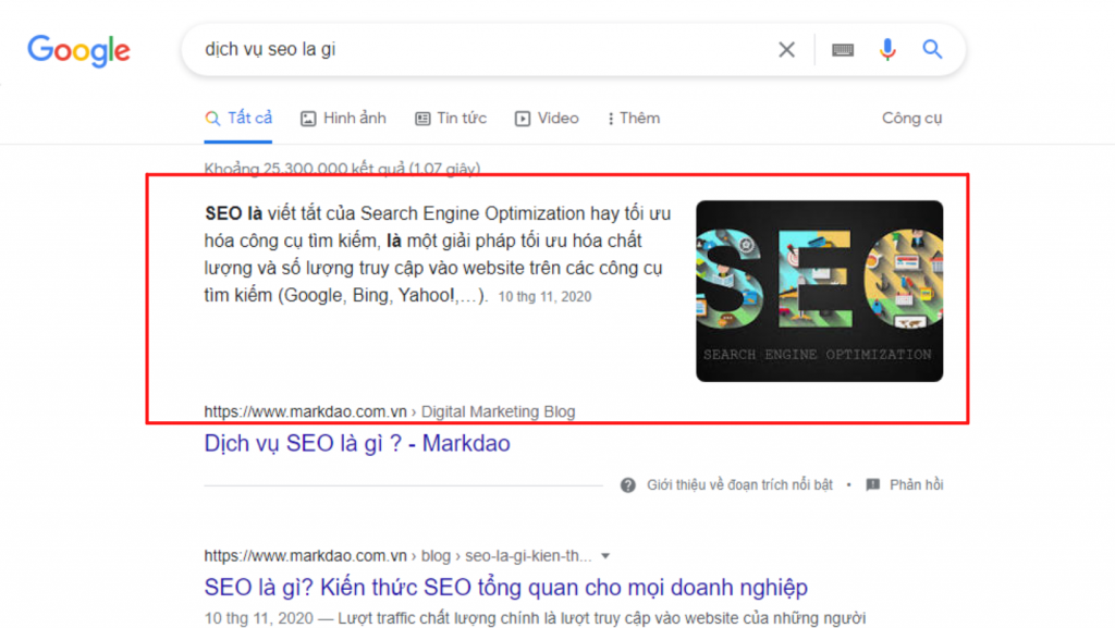search intent xuất hiện trong rich snippet