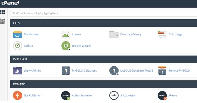cPanel của nhà cung cấp hosting