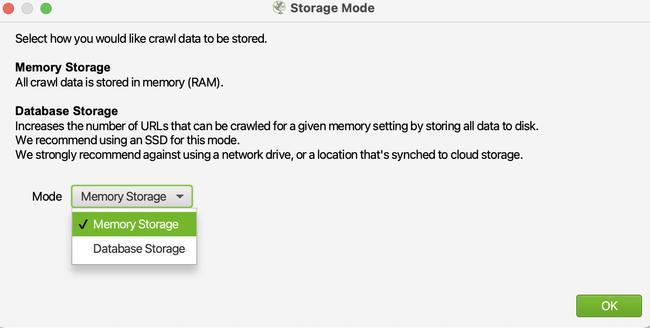 Thiết lập nơi lưu trữ dữ liệu của Screaming Frog
