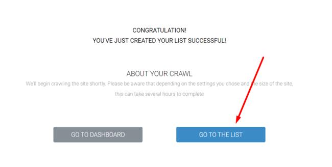 Nhấn Go to the list để tạo đường link trích xuất dữ liệu