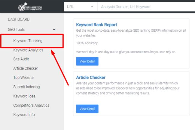 Keyword Tracking trong công cụ theo dõi từ khóa