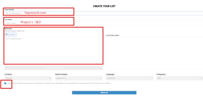 Ba phần thông tin gồm your domain, list name và keywords trong Keyword tracker TopOnSeek